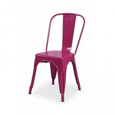 Krzesło kawiarniane PARIS inspirowane TOLIX różowy połysk