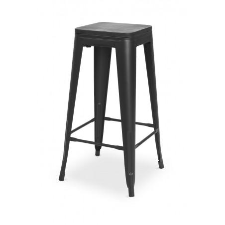 Krzesło kawiarniane PARIS inspirowane TOLIX hoker z drewnianym siedziskiem