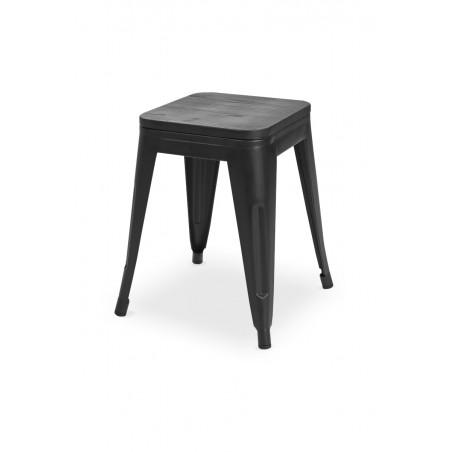 Krzesło kawiarniane PARIS inspirowane TOLIX taboret z drewnianym siedziskiem