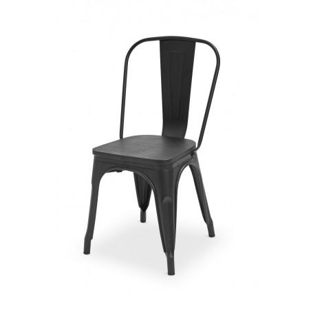 Krzesło kawiarniane PARIS inspirowane TOLIX z drewnianym siedziskiem