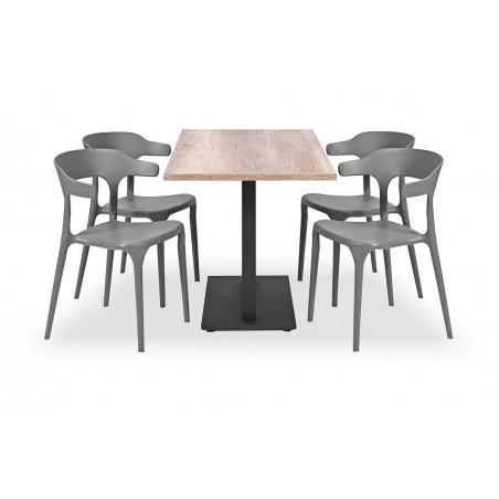 Zestaw mebli kawiarnianych - stolik ROXY DUO, krzesła SIESTA szare