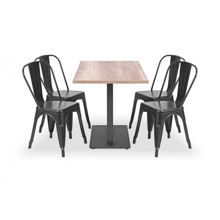 Zestaw mebli kawiarnianych - stolik ROXY DUO, krzesła PARIS inspirowane TOLIX czarne
