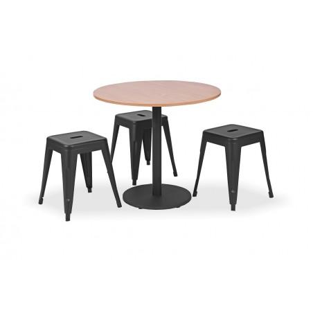 Zestaw mebli kawiarnianych - stolik KLARA, taborety PARIS inspirowane TOLIX czarne