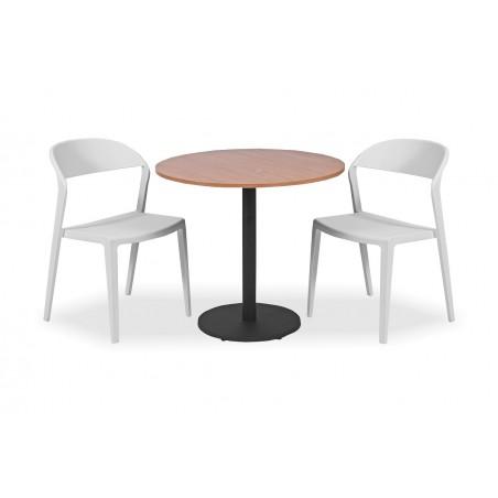 Zestaw mebli kawiarnianych - stolik KLARA, krzesła TOKYO białe