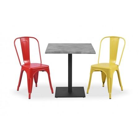 Zestaw mebli kawiarnianych - stolik ROXY, krzesła PARIS inspirowane TOLIX kolorowe