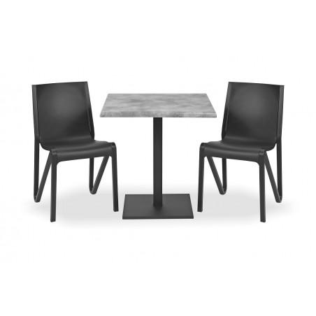 Zestaw mebli kawiarnianych - stolik ROXY, krzesła BOOM czarne