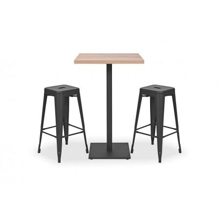 Zestaw mebli kawiarnianych - stolik DONA, hokery PARIS inspirowane TOLIX czarne