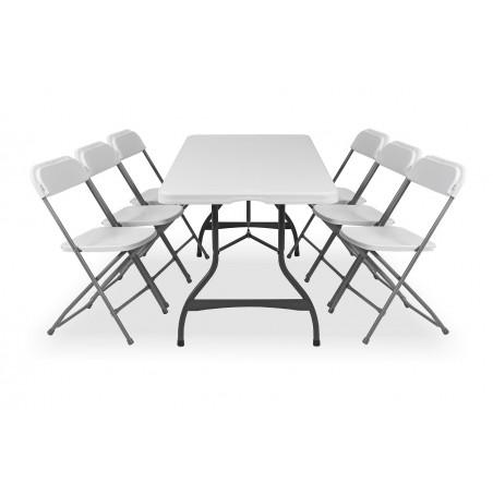 Zestaw mebli cateringowych - stół 80272, krzesło - POLY 7 białe