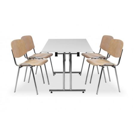 Zestaw mebli konferencyjnych - stół FOLD, krzesła ISO WOOD