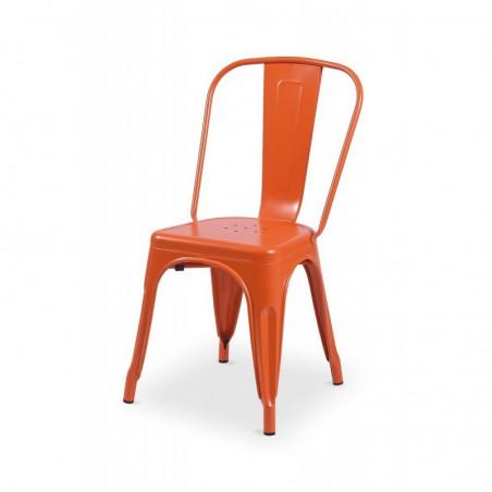 Krzesło kawiarniane PARIS inspirowane TOLIX pomarańczowy połysk